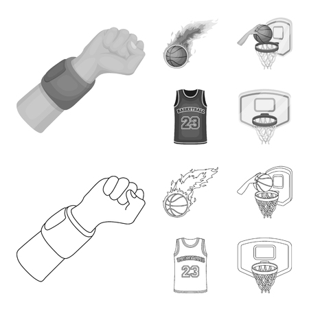 Esquema de baloncesto y atributos, monocromo iconos de colección set de diseño.Jugador de baloncesto y equipo vector símbolo stock web ilustración.