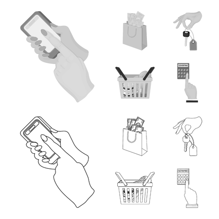 Mobile phone, a package with money and other web icon in outline,monochrome style. a key in hand, a basket with food icons in set collection.