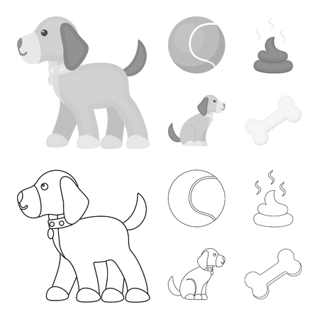 Dog sitting, dog standing, tennis ball, feces. Dog set collection icons in outline,monochrome style vector symbol stock illustration web.