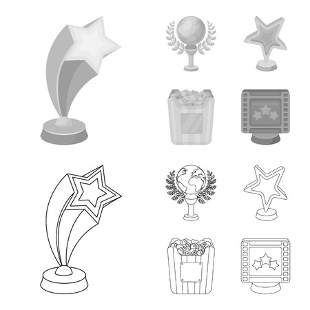A gold prize in the form of a star, a gold globe and other prizes.Movie awards set collection icons in outline,monochrome style vector symbol stock illustration web.