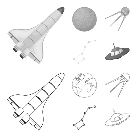 Planet Earth with continents and oceans, flying satellite, Ursa Major, UFO. Space set collection icons in outline,monochrome style vector symbol stock illustration web.
