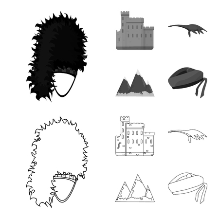 Edinburgh Castle, Loch Ness Monster, Grampian Mountains, national cap balmoral,tam shanter. Scotland set collection icons in outline,monochrome style vector symbol stock illustration web.