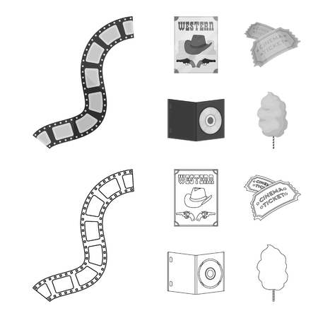 Western cinema, tickets, sweet cotton wool, film on DVD.Filmy and cinema set collection icons in outline,monochrome style vector symbol stock illustration web.