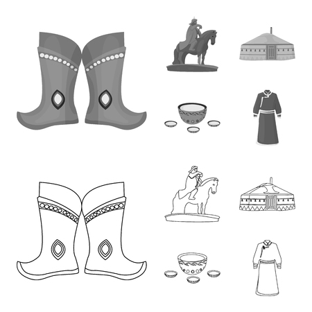 Military boots, a monument to the rider, a national tent, a milk drink. Mongolia set collection icons in outline,monochrome style vector symbol stock illustration web.