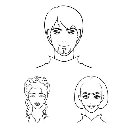 Avatar e contorno viso icone nella raccolta di set per il design. Un'illustrazione web delle azione di simbolo di bitmap di aspetto della persona. Archivio Fotografico
