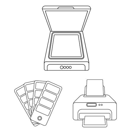 Typographical products outline icons in set collection for design. Printing and equipment bitmap symbol stock web illustration.
