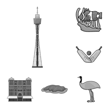 Country Australia monochrome icons in set collection for design.Travel and attractions bitmap symbol stock web illustration.