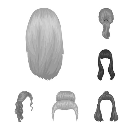 Female hairstyle monochrome icons in set collection for design. Stylish haircut bitmap symbol stock web illustration. 版權商用圖片