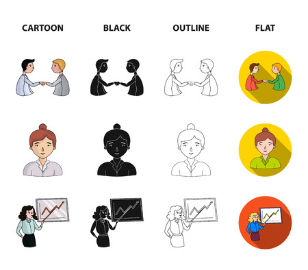 Businesswoman, growth charts, brainstorming.Business-conference and negotiations set collection icons in cartoon,black,outline,flat style bitmap symbol stock illustration web.