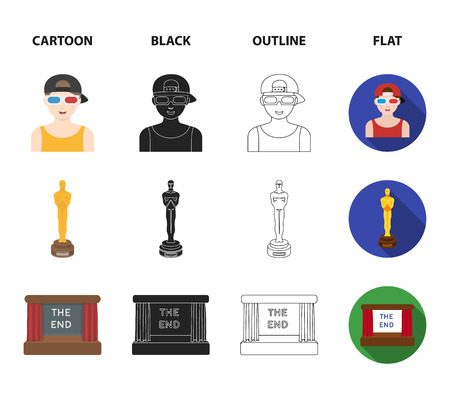Award Oscar, movie screen, 3D glasses. Films and film set collection icons in cartoon,black,outline,flat style bitmap symbol stock illustration web.