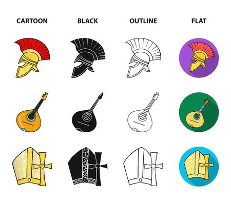 Mandolin, papa, olive, retro auto.Italy country set collection icons in cartoon,black,outline,flat style bitmap symbol stock illustration web.