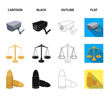 Scales of justice, cartridges, a bunch of keys, handcuffs.Prison set collection icons in cartoon,black,outline,flat style bitmap symbol stock illustration web.