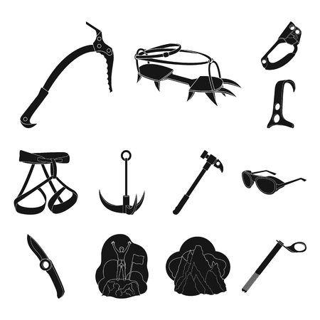 Mountaineering and climbing black icons in set collection for design. Equipment and accessories bitmap symbol stock web illustration. Reklamní fotografie - 106054423
