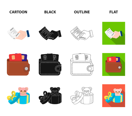 Purse with credit cards and other web icon in cartoon,black,outline,flat style. gift sale of things, button more icons in set collection.