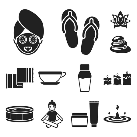 Spa salon and equipment black icons in set collection for design. Relaxation and rest bitmap symbol stock web illustration.
