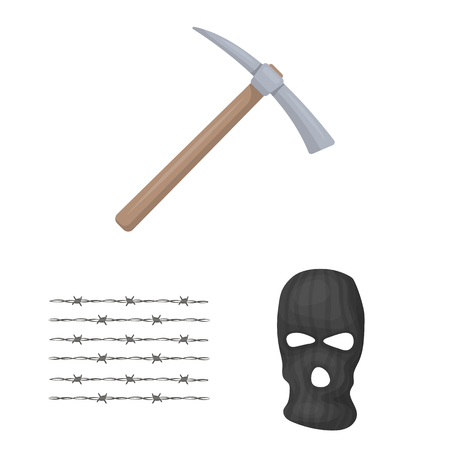 Prison and the criminalcartoon icons in set collection for design.Prison and Attributes vector symbol stock web illustration. Ilustração
