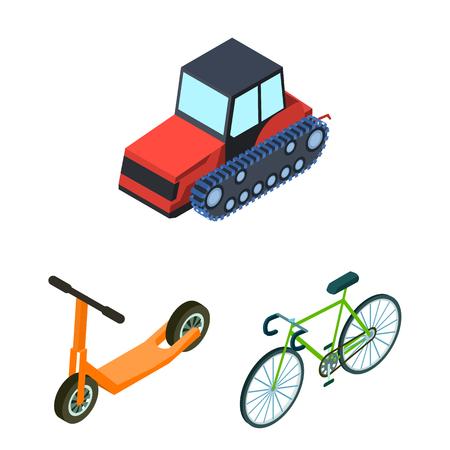 Verschiedene Arten von Transportkarikaturikonen in der Satzsammlung für Design. Vektor-Symbolvorrat-Netzillustration des Autos und des Schiffs isometrische.