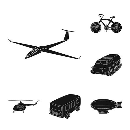 Different types of transport black icons in set collection for design. Car and ship vector symbol stock web illustration. Archivio Fotografico - 106088717