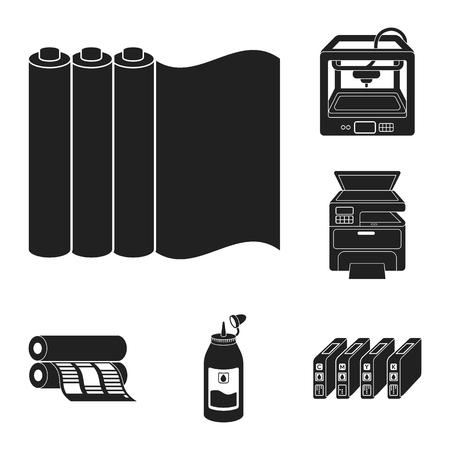 productos caligráficos iconos negros en serie de conjunto para el diseño de impresión y la industria del vector . ilustración de concepto de web .