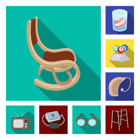 Human old age flat icons in set collection for design. Pensioner, period of life vector symbol stock web illustration. Illustration