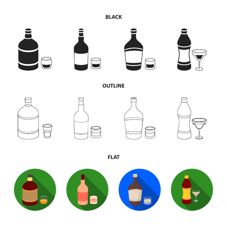 Whiskey, liquor, rum, vermouth.Alcohol set collection icons in black,flat,outline style vector symbol stock illustration web. Illustration