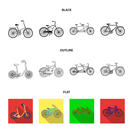 Children bicycle, a double tandem and other types.Different bicycles set collection icons in black,flat,outline style vector symbol stock illustration web.