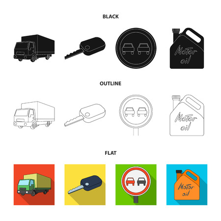 Truck with awning, ignition key, prohibitory sign, engine oil in canister, Vehicle set collection icons in black,flat,outline style vector symbol stock illustration web. Иллюстрация
