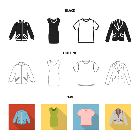 A mans jacket, a tunic, a T-shirt, a business suit. Clothes set collection icons in cartoon style vector symbol stock illustration web. Ilustrace