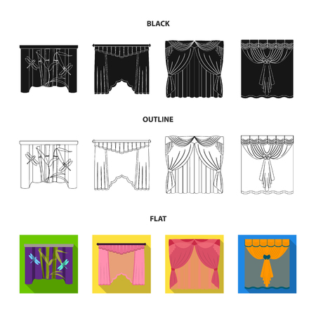Embroidery, textiles, furniture and other web icon in black,flat,outline style.Curtains, stick, cornices, icons in set collection. Vectores