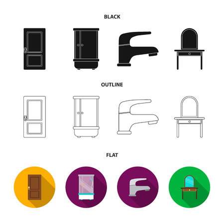 Door, shower cubicle, mirror with drawers, faucet.Furniture set collection icons in cartoon style vector symbol stock illustration web.