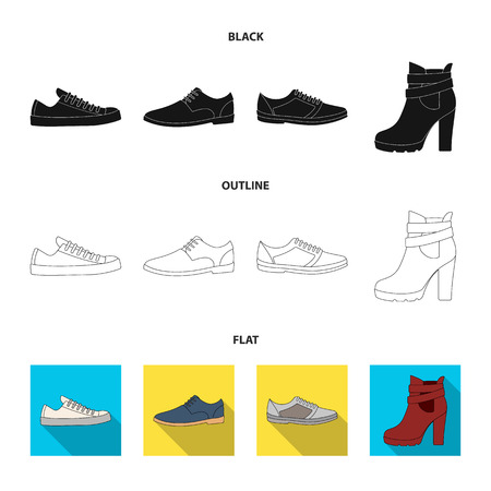A set of icons on a variety of shoes.Different shoes single icon in black,flat,outline style vector web symbol stock illustration.