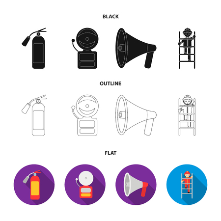 Fire extinguisher, alarm, megaphone, fireman on the stairs. Fire departmentset set collection icons in cartoon style vector symbol stock illustration web. Illustration