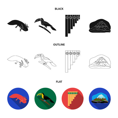 Sampono Mexican musical instrument, a bird with a long beak, Orizaba is the highest mountain in Mexico, axolotl is a rare animal. Mexico country set collection icons in black,flat,outline style vector symbol stock illustration web.