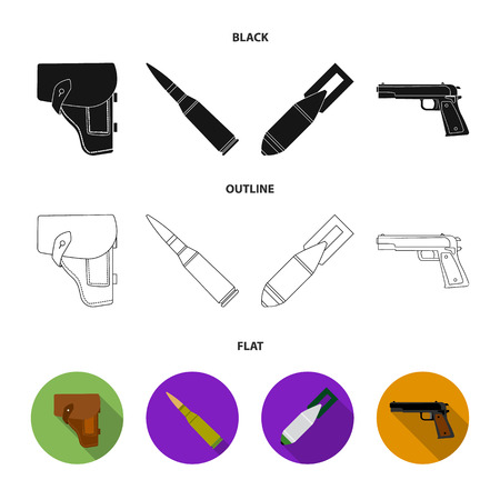 Holster, cartridge, air bomb, pistol. Military and army set collection icons in cartoon style vector symbol stock illustration web.