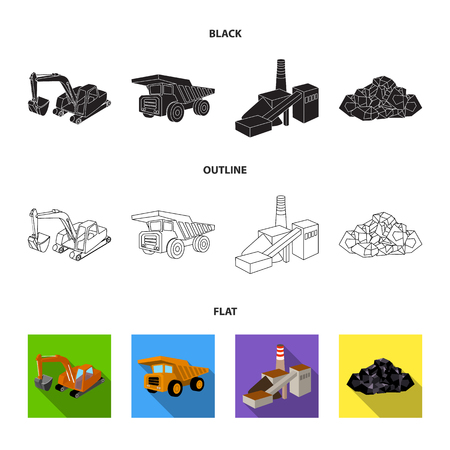 Excavator, dumper, processing plant, minerals and ore.Mining industry set collection icons in cartoon style vector symbol stock illustration web.