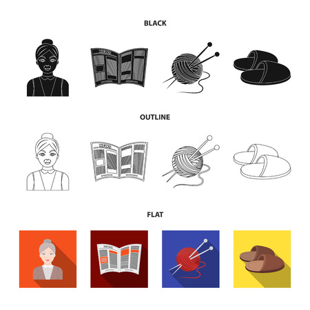 An elderly woman, slippers, a newspaper, knitting.Old age set collection icons in black,flat,outline style vector symbol stock illustration web.