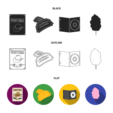 Western cinema, tickets, sweet cotton wool, film on DVD.Filmy and cinema set collection icons in black,flat,outline style vector symbol stock illustration web. Stock Illustratie