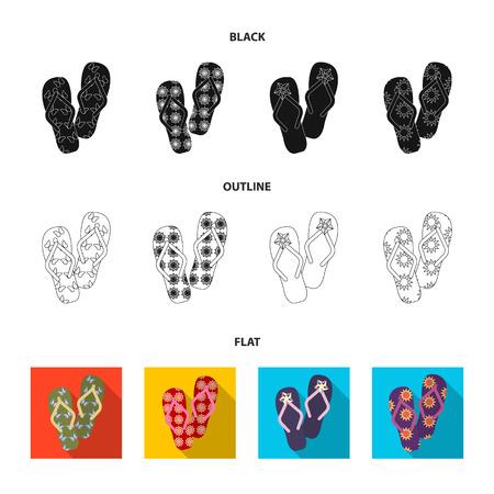 iconos de dibujos animados de flip-flops en conjunto de colección para el diseño de playa . vector de símbolos de la web . ilustración de páginas web .