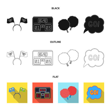 Hoop with flags and other attributes of the fans.Fans set collection icons in black,flat,outline style vector symbol stock illustration web. Illustration