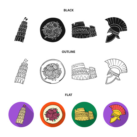 Pisa tower, pasta, coliseum, Legionnaire helmet.Italy country set collection icons in cartoon style vector symbol stock illustration web.