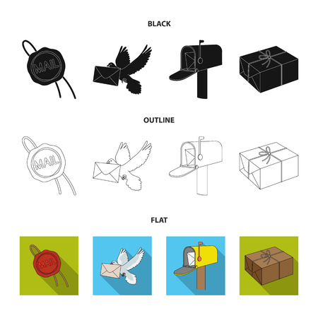 Wax seal, postal pigeon with envelope, mail box and parcel.Mail and postman set collection icons in cartoon style vector symbol stock illustration web. Archivio Fotografico - 106089223