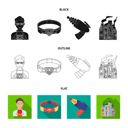 Man, young, glasses, and other web icon in cartoon style. Superman, belt, gun icons in set collection.