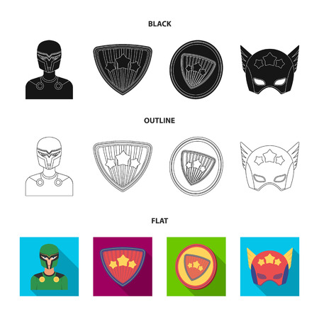 Man, mask, cloak, and other web icon in black,flat,outline style.Costume, superforce, icons in set collection.