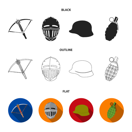 Crossbow, medieval helmet, soldier helmet, hand grenade. Weapons set collection icons in cartoon style vector symbol stock illustration web.  イラスト・ベクター素材