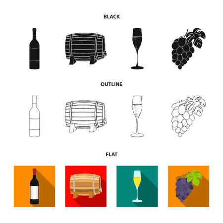 A bottle of red wine, a wine barrel, a glass of champagne, a bunch. Wine production set collection icons in cartoon style vector symbol stock illustration web. Illustration