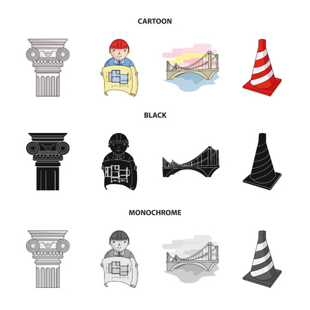 Column, master with drawing, bridge, index cone. Architecture set collection icons in cartoon,black,monochrome style vector symbol stock illustration web.  イラスト・ベクター素材