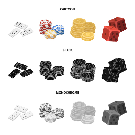 Domino bones, stack of chips, a pile of mont, playing blocks. Casino and gambling set collection icons in cartoon,black,monochrome style vector symbol stock illustration web.