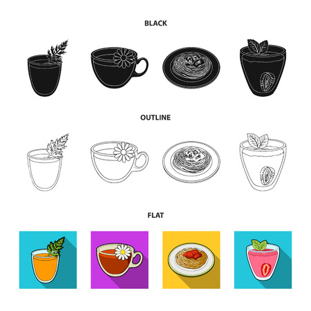 Carrot juice in a glass, chamomile tea in a cup, porridge on a plate, strawberry juice in a glass with a leaf. Vegetarian dishes set collection icons in cartoon style vector symbol stock illustration web.