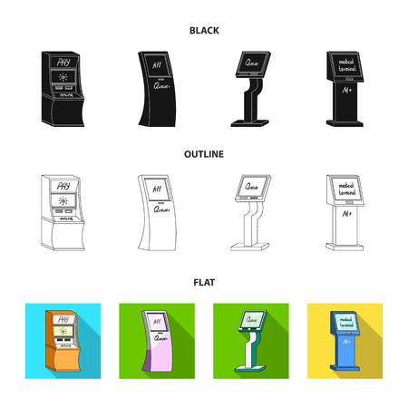 Medical terminal, ATM for payment,apparatus for queue. Terminals set collection icons in black,flat,outline style isometric vector symbol stock illustration web .