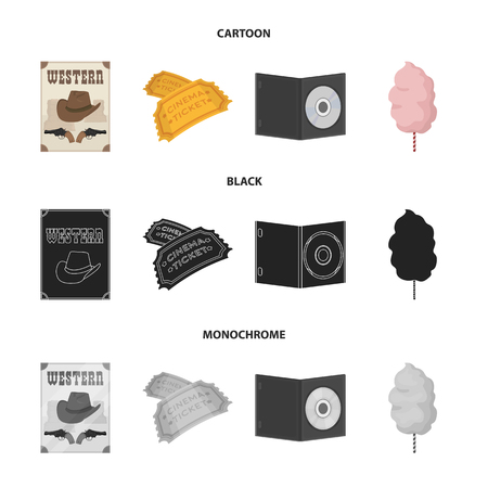 Western cinema, tickets, sweet cotton wool, film on DVD.Filmy and cinema set collection icons in cartoon,black,monochrome style vector symbol stock illustration web.